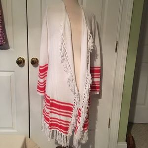 Tommy Bahama cardigan sweater with fringe trim